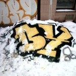 Snowfiti im Winter
