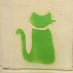 Grüne Katze in der Beesener Straße