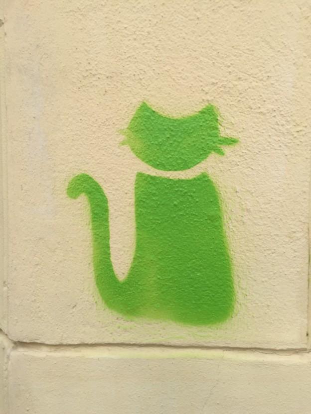 Stencil einer grüne Katze
