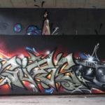 Unter der Brücke (B80-West): Güros mit Graffiti-Blaster und Psycho by SHIZO